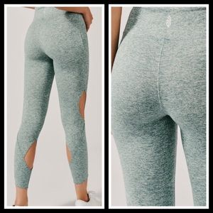 Free People• teal blue halo cutout leggings